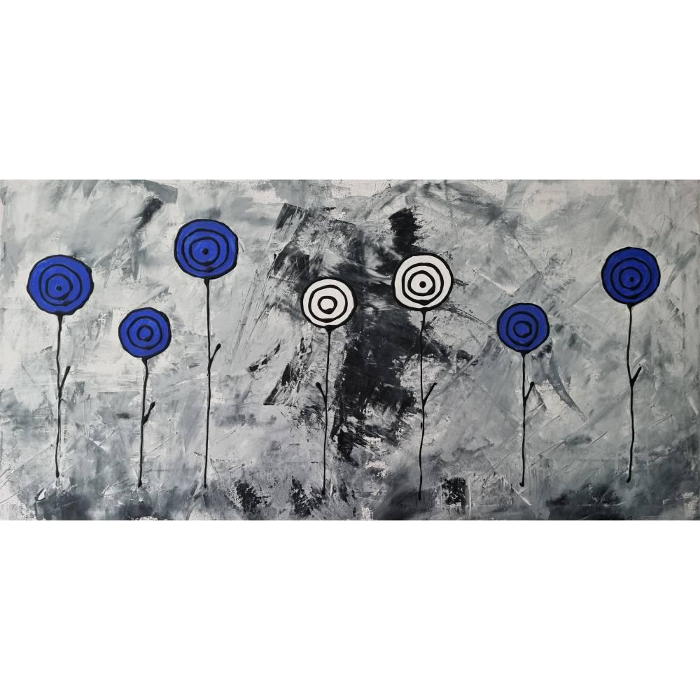Abstrakte Schwarz/Weiß Malerei Acrylbild Moderne Kunst Blumen Bild Acrylmalerei Bild 1