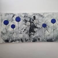 Abstrakte Schwarz/Weiß Malerei Acrylbild Moderne Kunst Blumen Bild Acrylmalerei Bild 2