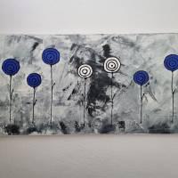 Abstrakte Schwarz/Weiß Malerei Acrylbild Moderne Kunst Blumen Bild Acrylmalerei Bild 3