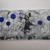 Abstrakte Schwarz/Weiß Malerei Acrylbild Moderne Kunst Blumen Bild Acrylmalerei Bild 5