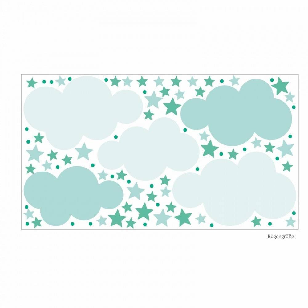 142 Wandtattoo Wolken, Sterne und Punkte Set mint weiß - 87 Stück - in 6 vers. Größen - süße Baby Kinderzimmer Wanddeko Aufkleber Sticker Bild 1