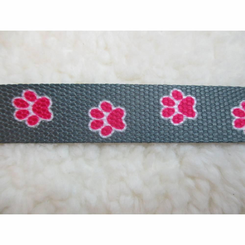Gurtband Pfoten grau-pink Breite 20 mm  ( 2,20 €/m) Bild 1