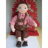 Stoffpuppe, Trachtenpuppe Schorsch, Bayerische Puppe, Oktoberfest, OOAK Waldorf inspired, Künstler Puppe Bild 1