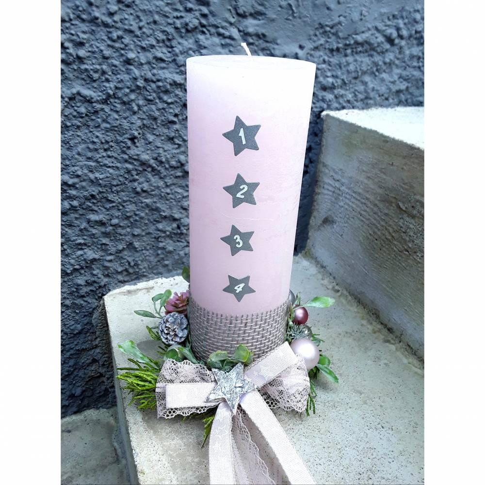 ADVENTSKERZE kleiner Adventskranz rosa grau silber rustic rustikal 25x8 cm + KERZENTELLER  Bild 1