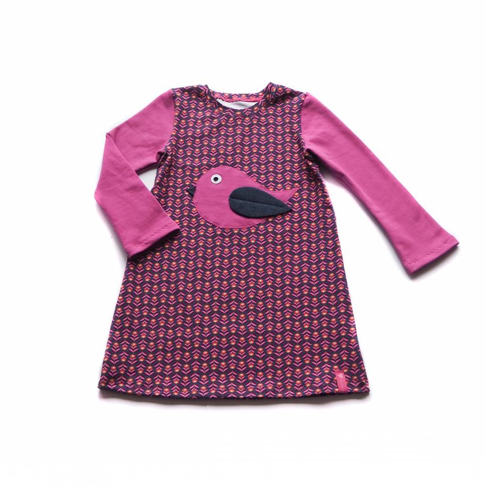KLEID Tunika Hängerchen Vogel pink Retro Mädchen Geschenk Geburt Baby Taufe Einschulung Gr. 86 - 140 Bild 1
