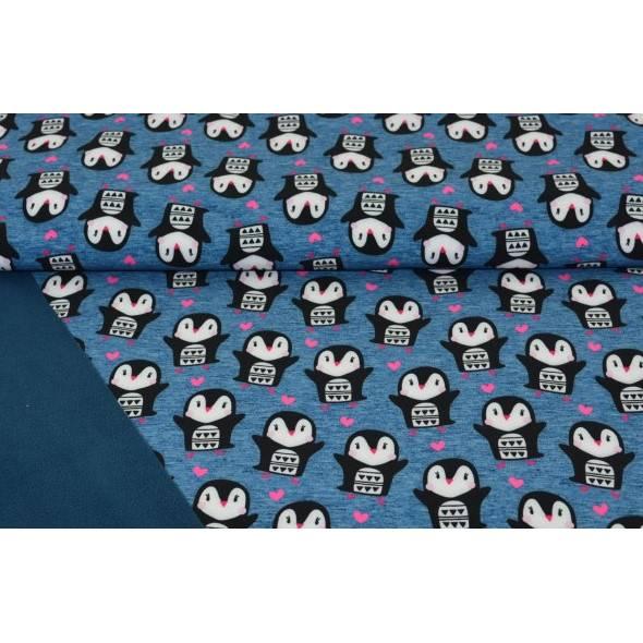 Softshell mit Pinguinen und Herzen in marine, dunkelblau Bild 1