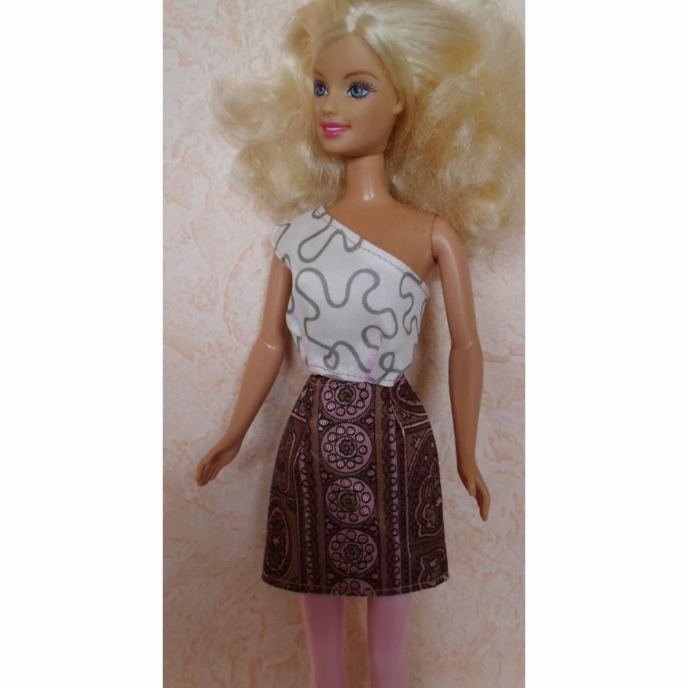 Barbie-Kleidung, Barbie-Rock, Rock für Barbiepuppe, Batikstoff Bild 1