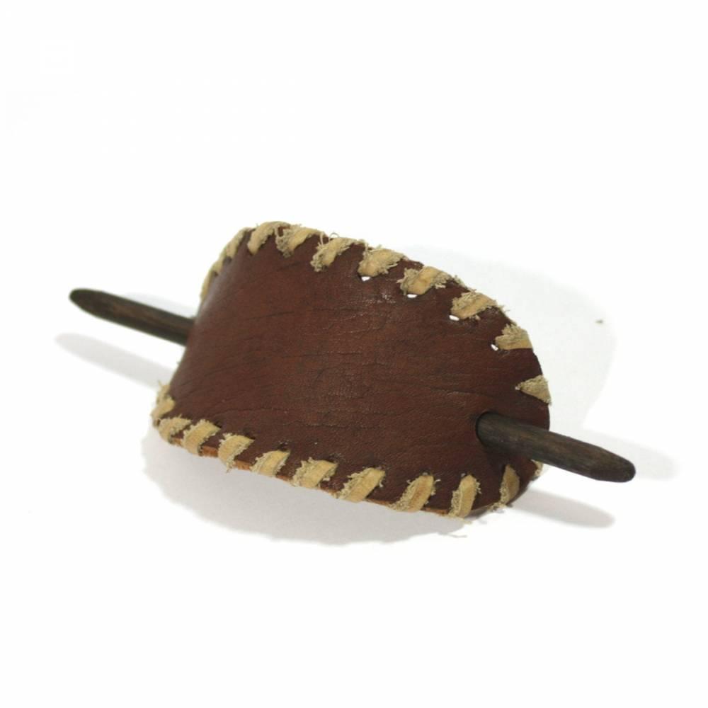 Vintage Haarspange / Lederhaarspange / Haarklammer aus Leder - Upcycling - mit Holzstab - Handgefertigt - Mittelalter Ethno Boho Hippie Goa Design Bild 1