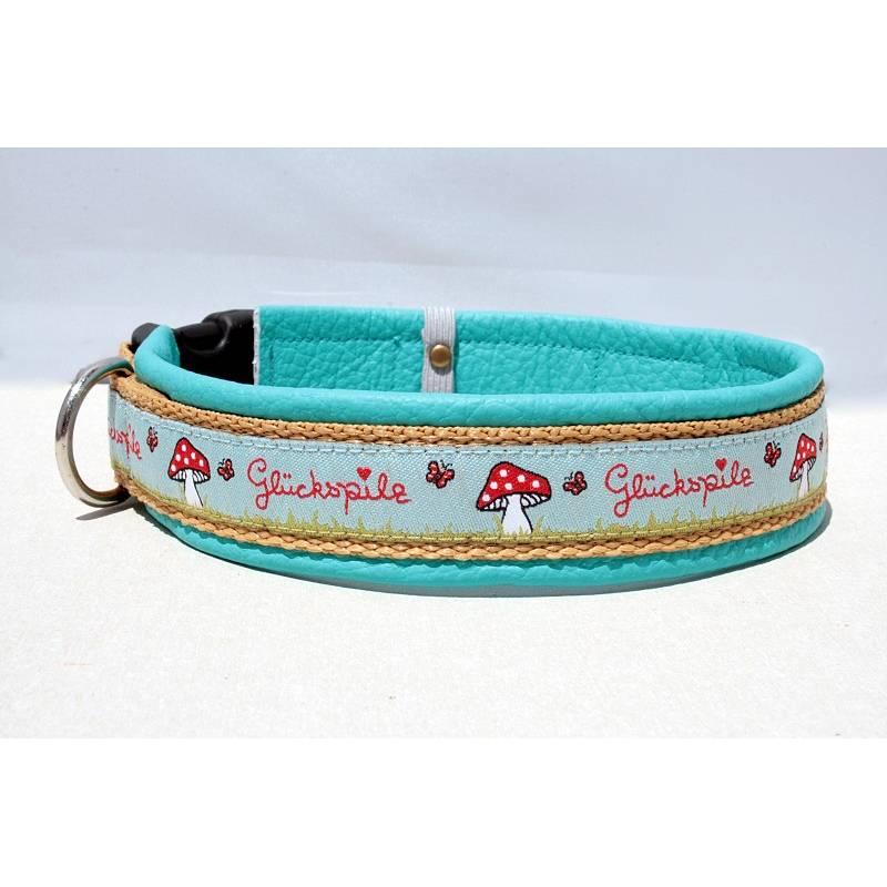 Hundehalsband »Glückspilz blau/d.beige« mit echtem Leder unterlegt aus der Halsbandmanufaktur von dogs & paw Bild 1