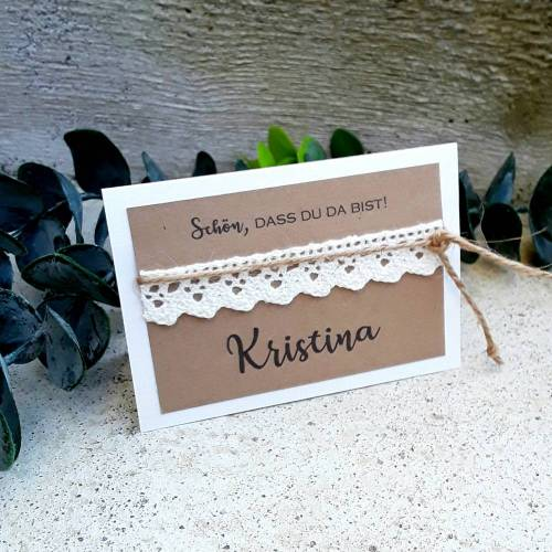 5 x TISCHKARTE Platzkarte Tischkärtchen Kraft vintage Hochzeit Spitze incl. Druck