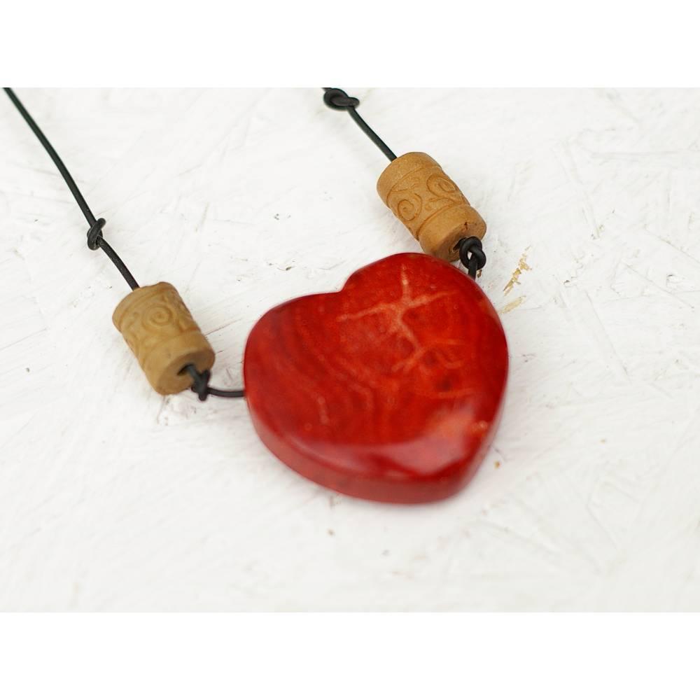 Kette großes Herz  Anhänger aus Edelstein, Einzelstück als individuelle Geschenkidee zu Weihnachten, Modeschmuck in Handarbeit, Herzanhänger Bild 1