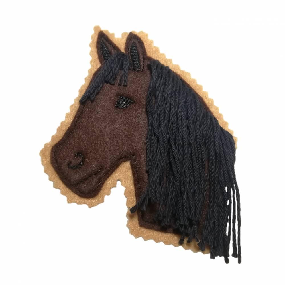 """Aufnäher """"Pferd braun mit schwarzer Mähne"""", 11 cm hoch & 10 cm breit Bild 1"""