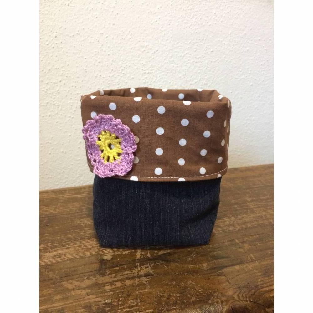Utensilo, Stoffkörbchen aus Jeans Upcycling Bild 1