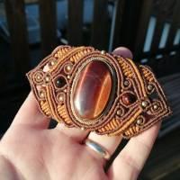 Makramee-Haarspange mit Obsidian in verschiedenen Grüntönen Bild 2