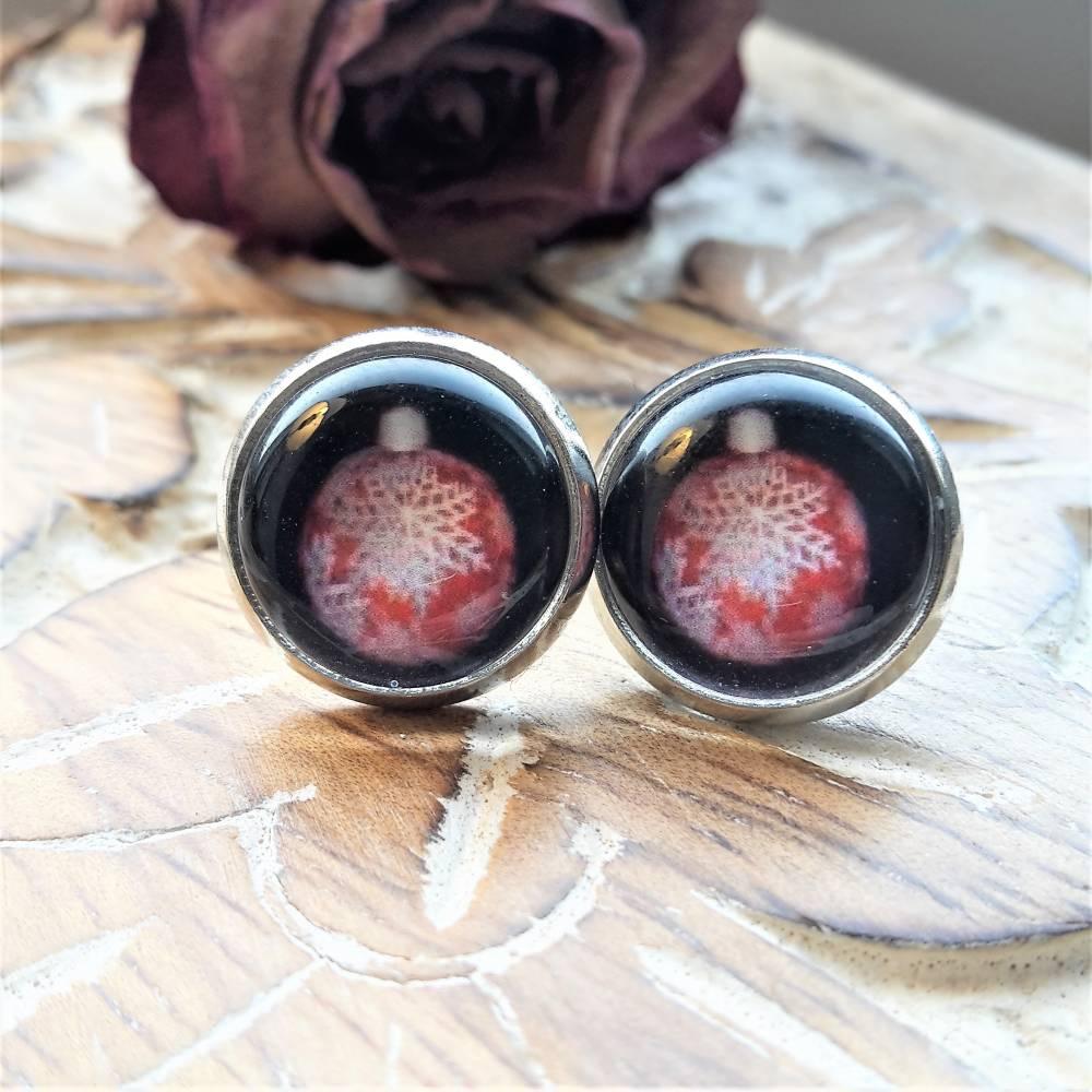 Ohrringe und Ringe Cabochonschmuck verschiedene Fassungen rote Weihnachtskugeln Bild 1