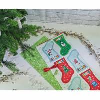 Adventskalender Stiefel - Söckchen - Säckchen zum Selbermachen bunt - grün, aus wunderschönen bedruckten Baumwollstoffe, waschbar Bild 1