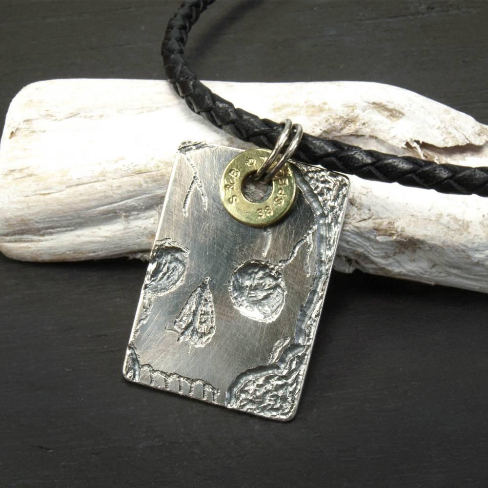Totenschädel 925 Sterling Silber Anhänger mit Lederkette, Sterling Silber Königskette Bild 1