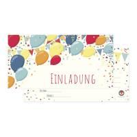 12 Luftballon Einladungskarten zum Geburtstag - bunte Ballons - Einladung inkl. passende Umschläge Bild 1