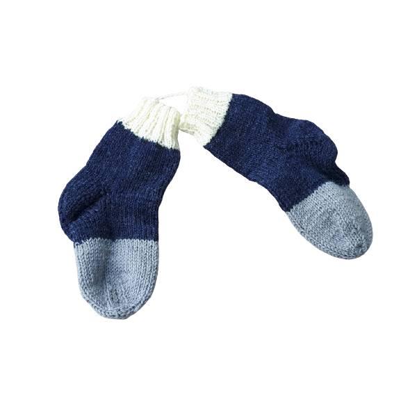 Babysocken/Kindersocken handgestrickt aus Wolle, Größe 19/20 blau grau/weiß Bild 1