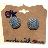 Runde Keramik-Ohrstecker: Blau auf weißem Ton (5) Bild 1