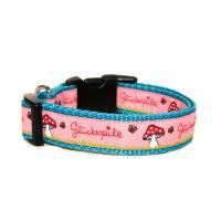 Welpenhalsband Glückspilz rosa ohne Unterfütterung (größere Verstellbarkeit) aus der Halsbandmanufaktur von dogs & paw Bild 1