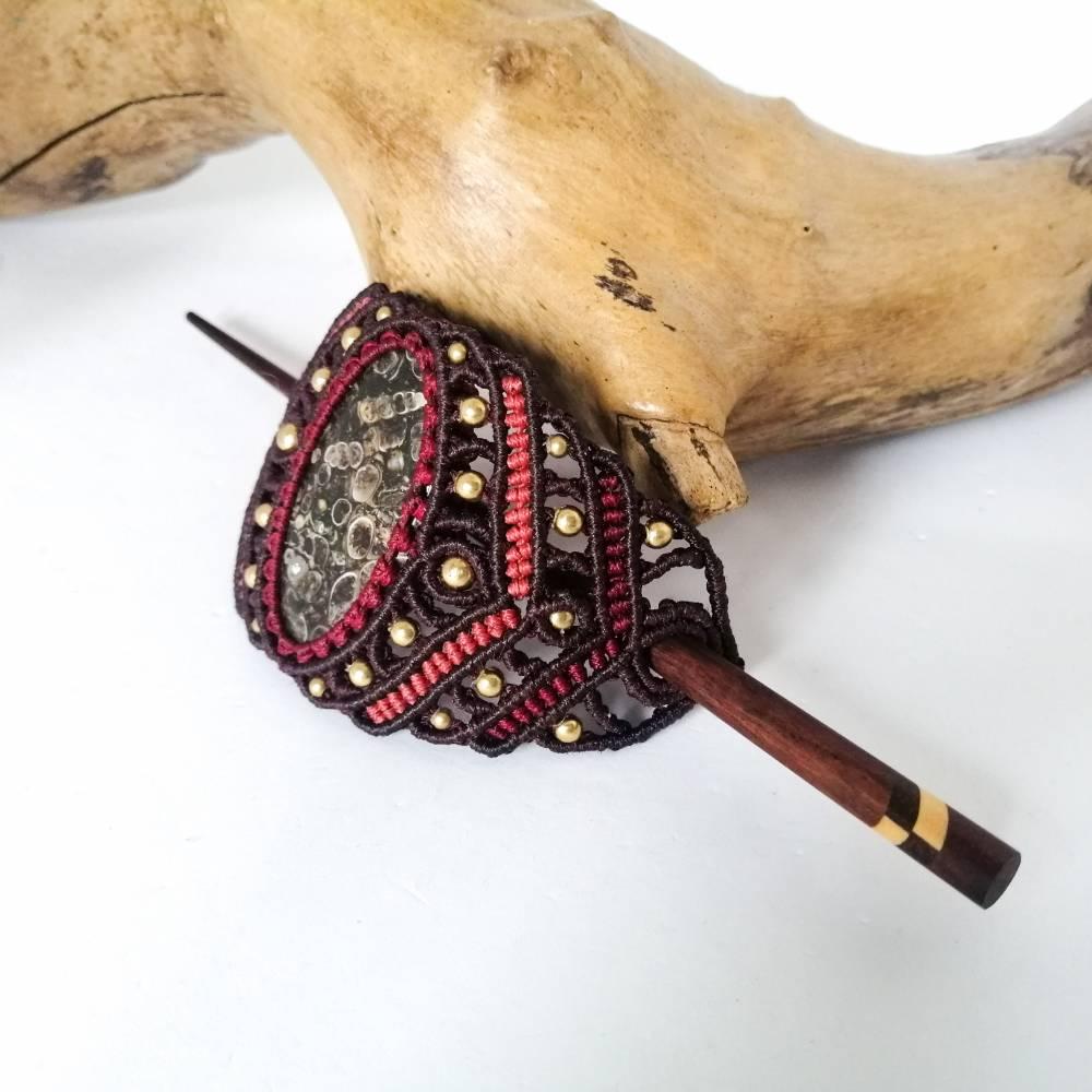 Makramee-Haarspange mit Rosenquarz, Granat und Holz-Stab Bild 1
