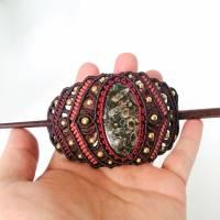 Makramee-Haarspange mit Rosenquarz, Granat und Holz-Stab Bild 4
