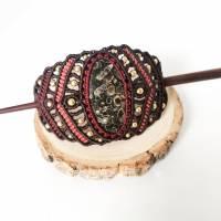 Makramee-Haarspange mit Rosenquarz, Granat und Holz-Stab Bild 6