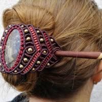 Makramee-Haarspange mit Rosenquarz, Granat und Holz-Stab Bild 7