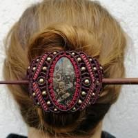 Makramee-Haarspange mit Rosenquarz, Granat und Holz-Stab Bild 8