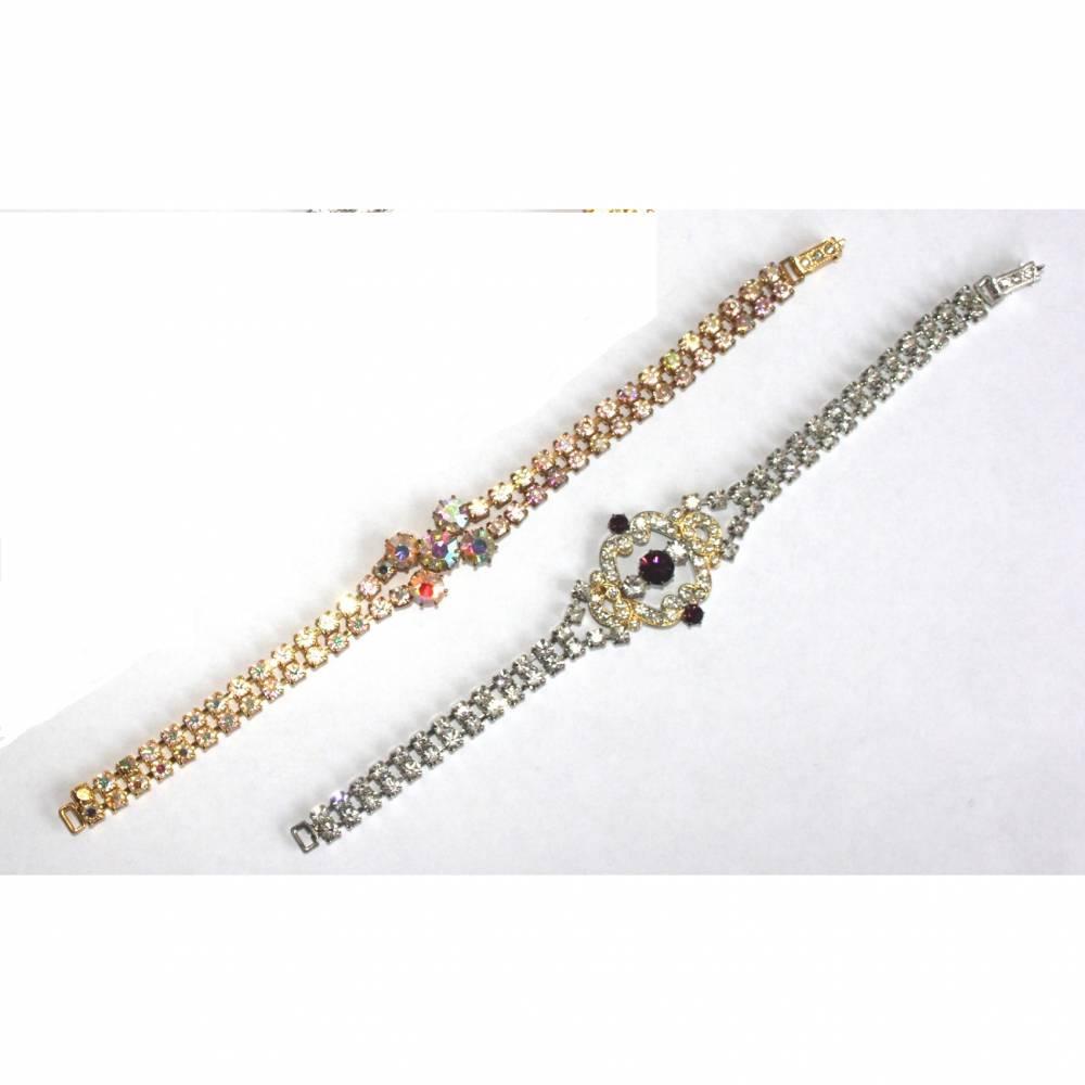 Vintage Armband Strass Schmuck Armschmuck silber gold AB Aurore Boreale, pink Modeschmuck Glasstrass Gablonz Böhmen 4 Bild 1