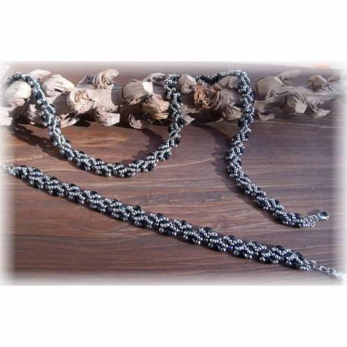Schmuckset, Halskette und Armband, Silber, Schwarz, Glasschliffperlen