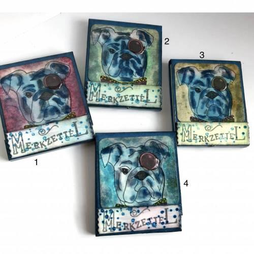 """""""Streichholz""""-Briefchen-Verpackung, klassisch befüllt mit Abreisszettelchen - Motiv """"Hund Winston"""""""