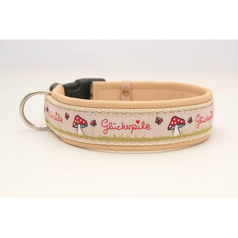 Hundehalsband »Glückspilz beige« mit echtem Leder unterlegt aus der Halsbandmanufaktur von dogs & paw Bild 1