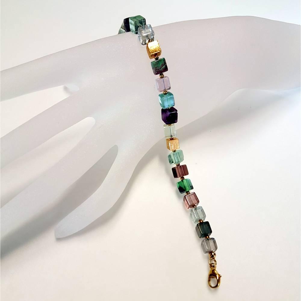 Fluorit - Armband in den Farben des Regenbogens Bild 1