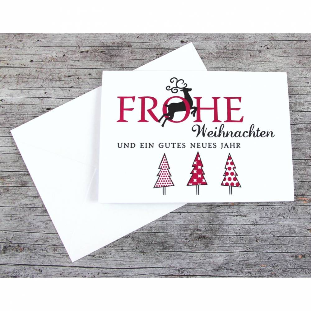 Klappkarte **3Bäume+Hirsch** von ZWEIFARBIG Weihnachtswünsche Frohe Weihnachten Grußkarte Weihnachtskarte Weihnachtsgrüße Baum Hirsch Bild 1