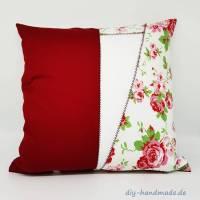 Kissenbezug mit Rosen, 40x40 cm, Rosen rot und weiß, Kissenhülle mit Rosenmuster, Unikat,  Bild 1