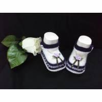Babyschuhe gestrickt, Babyschühchen, Babysocken, Ballerina *Lavendel* Bild 1