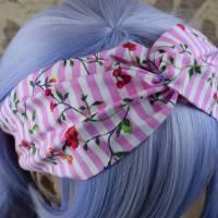 Knotenhaarband Blühstreifen in rosa Bild 1