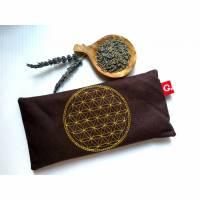 Yoga Augenkissen mit wunderschöner Stickerei Blume des Lebens in gold Bild 1