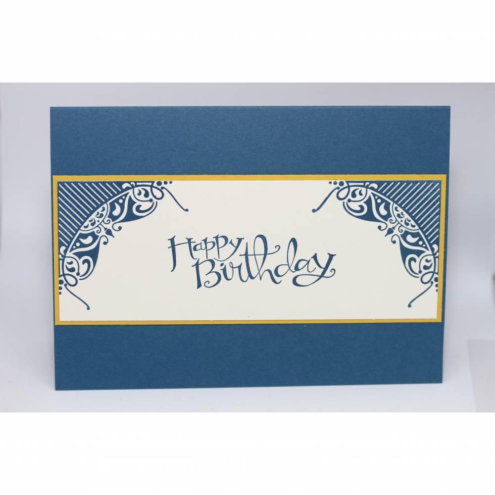 Geburtstagskarte Clean and Simple in Blau, Vanille und Gelb Bild 1