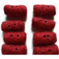Rote Filz-Zierknöpfe, zylindrisch, gelocht Bild 1