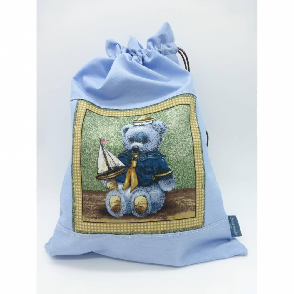 Geschenksäckchen Teddy mit Segelboot Unikat genäht Bild 1