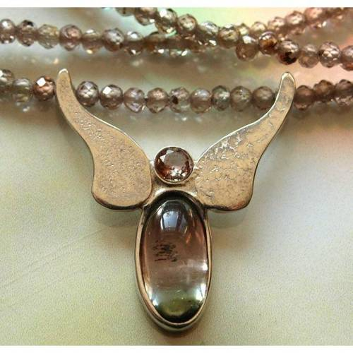 Schutz Engel Anhänger Andalusit-Turmalin an Zirkon-Kette mit Silber
