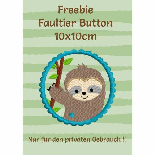 Freebie -Kostenlose Stickdatei Faultierbutton 10x10cm