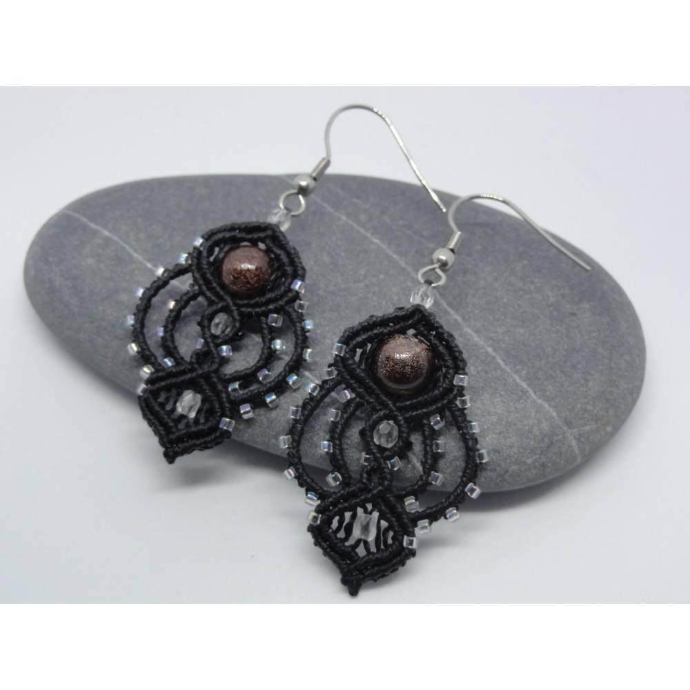 Macrame-Ohrringe mit Keramik-Perle Schwarz Bild 1