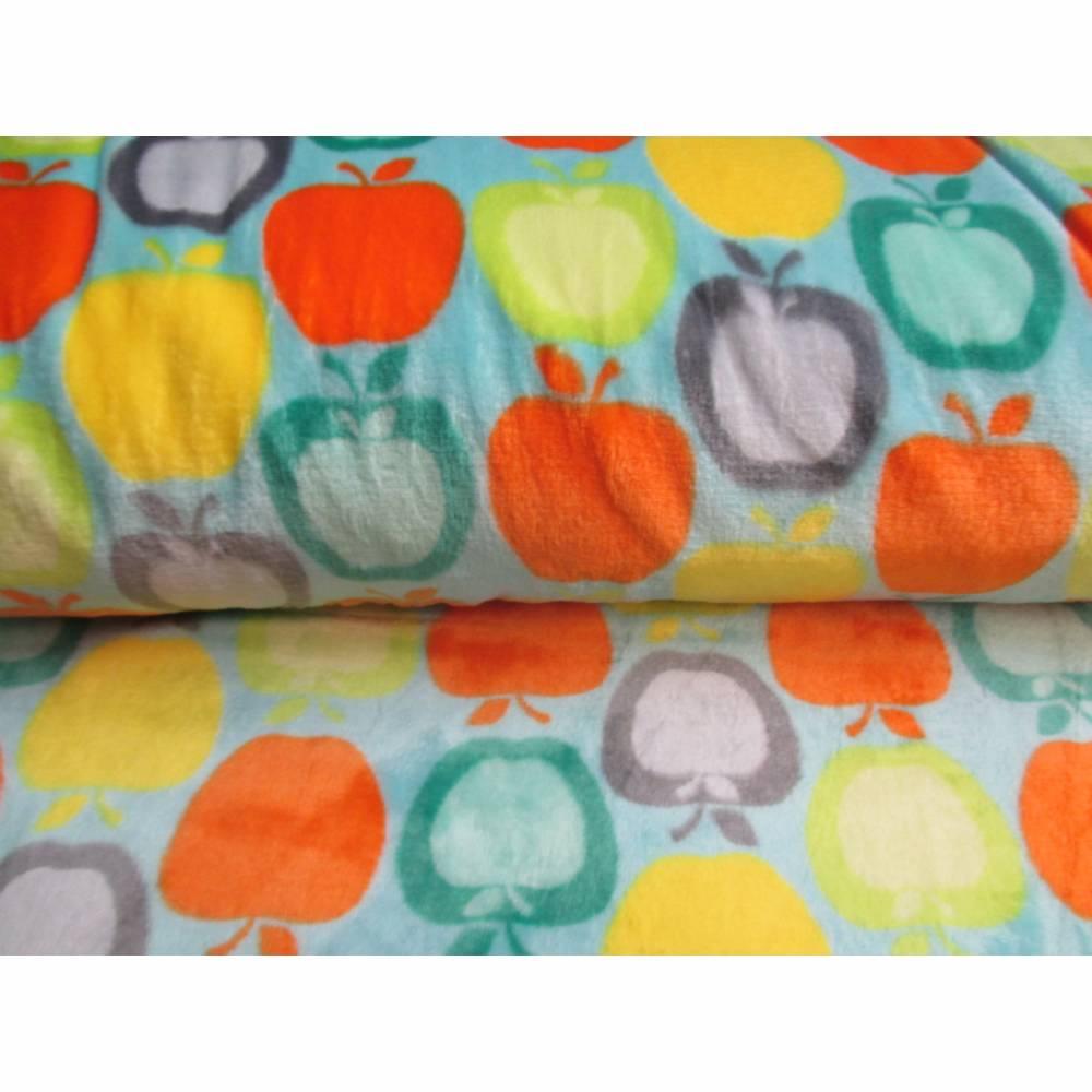 Kuscheliger weicher Flanell Fleece Äpfel türkis (1m/8,-€) Bild 1