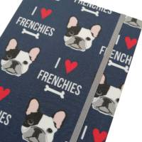 """Notizbuch A5 Hardcover stoffbezogen Französische Bulldogge """"I love Frenchies"""" Geschenk Geschenkartikel Frenchie Geschenkidee Bild 1"""