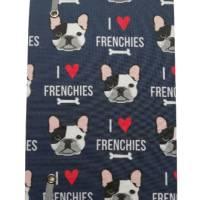 """Notizbuch A5 Hardcover stoffbezogen Französische Bulldogge """"I love Frenchies"""" Geschenk Geschenkartikel Frenchie Geschenkidee Bild 3"""