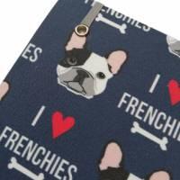 """Notizbuch A5 Hardcover stoffbezogen Französische Bulldogge """"I love Frenchies"""" Geschenk Geschenkartikel Frenchie Geschenkidee Bild 4"""